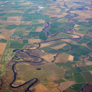 An aerial view of the confluence of the Stanislaus and San Joaquin rivers, in the California Central Valley, east of Tracy.