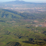 An aerial view of Mount Diablo from the East Bay hills, San Francisco Bay Area.
