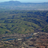 An aerial view of eastern Fremont, looking across the East Bay hills to Mount Diablo.