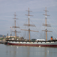 The 1886 square-rigged Balclutha, parked at Hyde Street Pier as part of the San Francisco Maritime National Historical Park.