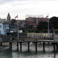 A view of Ghirardelli Square from the Hyde Street Pier, San Francisco.