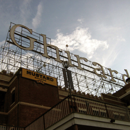 A close-up of the building-topping sign at Ghirardelli Square, San Francisco.