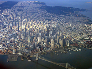 Thumbnail image ofAn aerial view of downtown San Francisco and a...