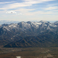 An aerial view of the Oquirrh Range just west of Salt Lake City.