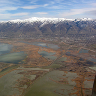 Looking across the Great Salt Lake marshland to Bountiful and the Wasatch Range beyond.