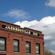 A view of the historic Jacksonville Hotel building in Jacksonville, Oregon.