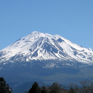 A view of Mt. Shasta from west-northwest on I-5.