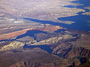 Thumbnail image ofA view of Flaming Gorge Reservoir from a commercial...