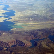 A view of Flaming Gorge Reservoir from a commercial jet.