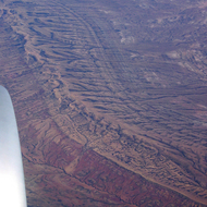 An aerial view of an interesting geologic formation in southern Wyoming.