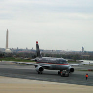 Reagan National Airport with the Jefferson and Washington Monuments in the background.
