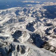 An aerial view of the Rocky Mountains, Colorado.