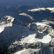 An aerial view of some Rocky Mountain peaks outside of Denver.