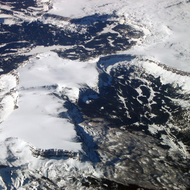 An aerial view of the Rocky Mountains.