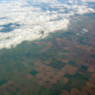 An aerial view of farmland near Denver, Colorado.