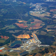 An aerial view of the Scherer Power Plant in Juliette, Georgia, near Atlanta.