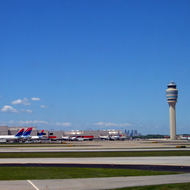 Atlanta International Airport from the tarmac.