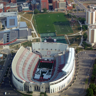 The Ohio State Buckeyes Stadium from a commercial jet.