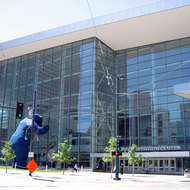 An exterior view of the Colorado Convention Center in Denver.