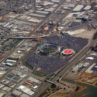 An aerial view of the Oracle - Golden State Warriors Stadium, and the McAfee Coliseum, home of the Oakland A's and Oakland Raiders.