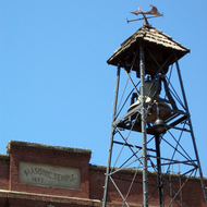 A close-up of the bell tower in downtown Placerville, California, an historic gold mining town formerly known as