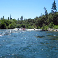 Whitewater rafts on the South Fork American River, California.