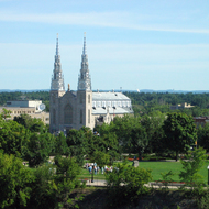 The Cathedral-Basilica of Notre Dame as seen from Parliament Hill.