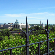 The National Gallery of Canada and the Cathedral-Basilica of Notre Dame as seen from Parliament Hill.