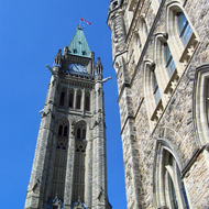 The Peace Tower and another part of the Centre Block of the Canadian Parliament.