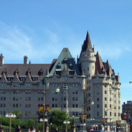 The Fairmont Chateau Laurier Hotel in downtown Ottawa, next to the Canadian Parliament.