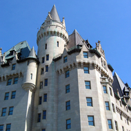 A close-up of part of the Fairmont Chateau Laurier Hotel in downtown Ottawa, next to the Canadian Parliament.