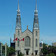 The Cathedral-Basilica of Notre Dame in Ottawa as seen from inside the National Gallery of Art.