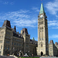 The Peace Tower and the Centre Block of the Canadian Parliament.