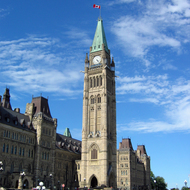 The Peace Tower and most of the Centre Block of the Canadian Parliament.