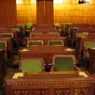The interior of the House of Commons of the Canadian Parliament.