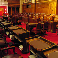 The interior of the Senate of the Canadian Parliament.
