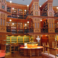The interior of the Library of Parliament, Ottawa, Canada.