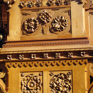 A close-up of the woodwork of the Library of Parliament, Ottawa, Canada.