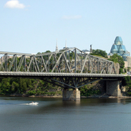 The Pont Alexandra Bridge across the Ottawa River and the National Gallery of Canada.