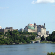 The Fairmont Chateau Laurier across the Ottawa River from the Canadian Museum of Civilization.