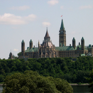 The Canadian Parliament across the Ottawa River from the Canadian Museum of Civilization.