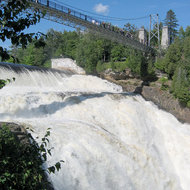 Montmorency Falls and the footbridge overlooking it.