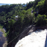 The top of Montmorency Falls from the footbridge.
