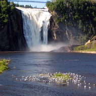 A view of Montmorency Falls.