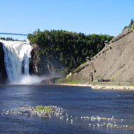 A view of Montmorency Falls with the stairway leading to the top.