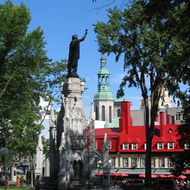 A statue of Maisonneuve on the Place d'Armes in Quebec.