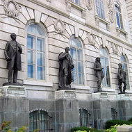 Several of the 24 bronze statues of prominent figures from the history of Quebec at the Hotel du Parlement (Parliament) of Quebec.