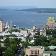 Looking toward old town Quebec from the rotating restaurant atop the Loews Concorde Hotel.