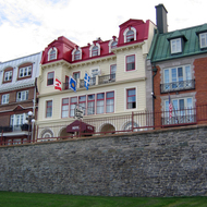 The Chateau de la Terrasse Hotel on the Terrasse Dufferin of old town Quebec.
