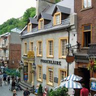 The terminus of the funicular in the lower town of old town Quebec.